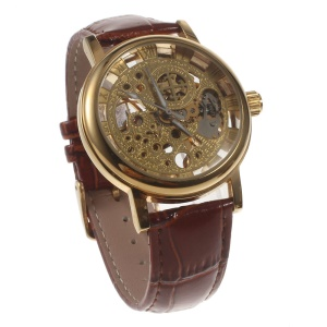 Stem-Winder Engraved Pattern Mechanical Watch with Genuine Leather Band - Brown / Gold Color