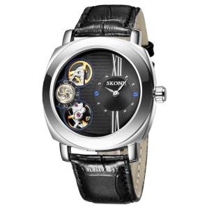 SKONE Men Genuine Leather Band Self-wind + Quartz Movements Wrist Watch with Second Dial - All Black