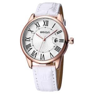 WEIQIN Women Leather Band Quartz Movement Wrist Watch with Magnifying Glass Calendar - White