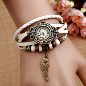Quarzo Vintage Weave Wrap Around Leather Bracelet Lady Leaf Orologio Da Polso - Bianca