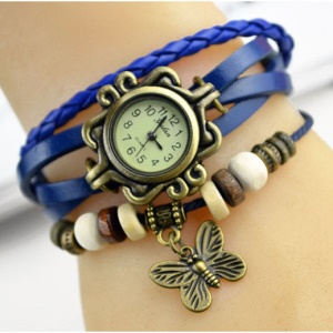 Women Girls Butterfly Vintage Braided Leather Bracelets Watch - Dark Blue