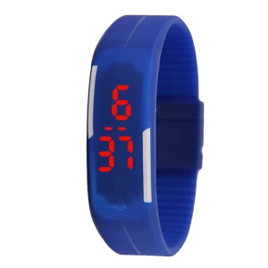 Touch Screen LED Digital Watch Bracelet Plastic Band - Dark Blue