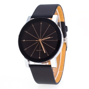 Fashion Round Dial Men Quartz Watch with PU Leather Band - Black / Men Style