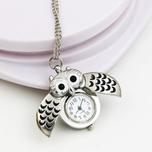 Vintage Owl Style Quartz Pocket Watch Double Open Necklace Chain Watch - Silver Color