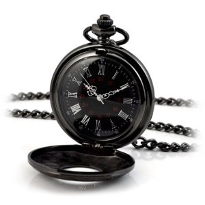 Retro Hollow-out Flip Pocket Watch Quartz Round Dial Watch with Chain - 39.5cm Standard Chain