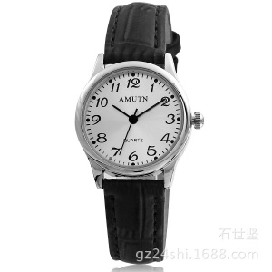 Elderly People Quartz Movement Leather Band Easy Reader Date Wrist Watch for Women