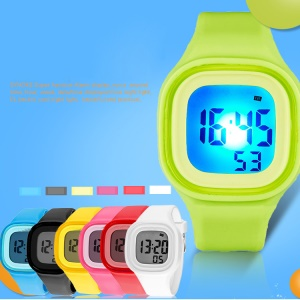 Bright Candy Color 50M Waterproof Sports Digital Watch with Silicone Band - Green