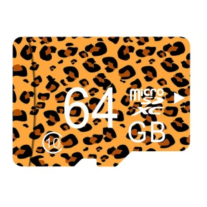 Leopard Print Series 64GB Class 10 Micro SD Flash Card with Adapter