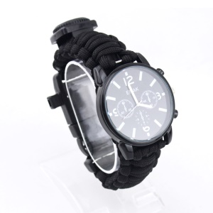 16 in 1 Multi-function Outdoor Survival Watch Kit with Paracord Rope - Black