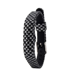 Flower Printing Flexible Silicone Wrist Strap for Fitbit Flex 2 - Black and White Grid
