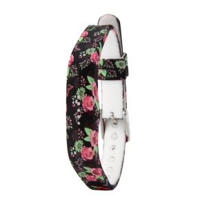 Flower Printing Flexible Silicone Wrist Strap for Fitbit Flex 2 - Rose Flowers with Black Background