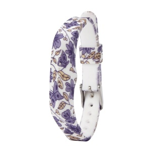 Flower Printing Flexible Silicone Wrist Strap for Fitbit Flex 2 - Purple Flowers and Butterflies
