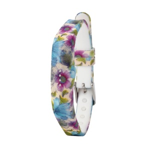 Flower Printing Flexible Silicone Wrist Strap for Fitbit Flex 2 - Blue Flowers