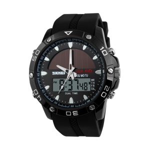 Outdoor Sports Powerful Battery Solar Power Men Watch with Double Movements 5ATM Waterproof - Black