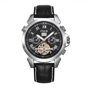 MCE Manual Winding Mechanical Movement Watch Genuine Leather Band - Black / Silver