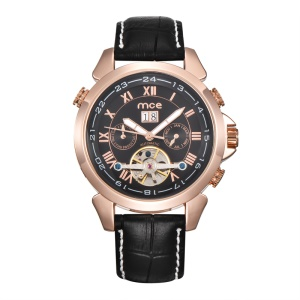 MCE Fashion Manual Winding Mechanical Movement Watch Genuine Leather Band - Black / Rose Gold