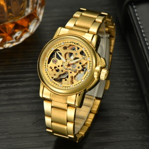 MCE Gold Plated Hollow Dial Auto Self-wind Mechanical Watch with Steel Band