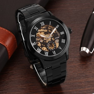 MCE Plated Hollow Dial Auto Self-wind Mechanical Watch with Steel Band - Black