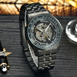 MCE Fashion Automatic Self-wind Mechanical Wrist Watch with Stainless Steel Band - Grey