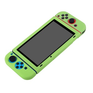 BUBM Soft Anti-slip Silicone Cover Separate Protective Case with Kickstand for Nintendo Switch - Green