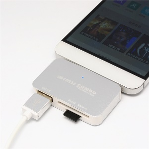 T-699C Mini OTG USB 3.1 Type-C Combo Hub Adapter to USB 3.0 Port + SD (HC)/TF Card Reader - Silver