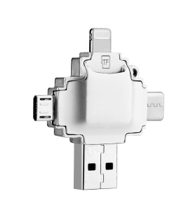 IDISKK MFI Lightning 8Pin + USB-A + Micro USB + Type-C for iOS Android Computer(R004)