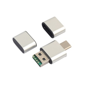 Portable 2-in-1 USB 2.0 + USB Type-C TF/SD Card Reader Support OTG - Silver