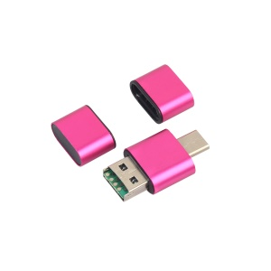 2-in-1 USB Type-C + USB 2.0 TF/SD Card Reader Support OTG - Rose
