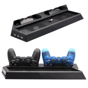 PS4 Pro 4-in-1 Dock [Game Console Vertical Stand + Cooler Fan + Dualshock Charging Station + USB Ports HUB Charger]