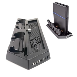 Multi-functional Console Stand with Vent Fans & Dual Controller Charging Slots for PS4