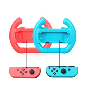 2Pcs/Set ABS Game Controller Direction Steering Wheel Grip Handle for Nintendo Switch Joy-Con - Red + Blue