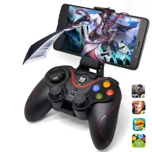 M1 Wireless 2.4G + Bluetooth Dual Mode Gamepad Joystick Controller for iOS Android with Phone Holder - Black
