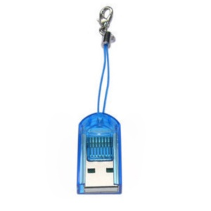 Mini High Speed USB 2.0 to T-Flash/MicroSD Card  Reader - Blue