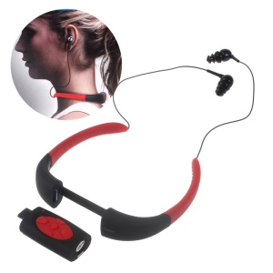 8GB IPX8 Waterproof MP3 Music Player FM Radio with Neckband Earphone - Black / Red