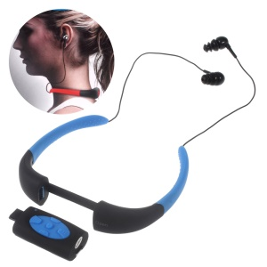 8GB Waterproof Diving MP3 Music Player FM Radio with Neckband Earphone - Black / Blue