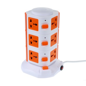 TUI 3 Layers 11-outlet 2 USB Outputs Vertical Power Socket with Base - Orange / EU Plug