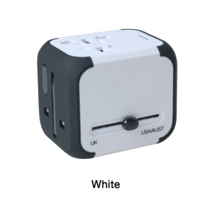 2 USB Ports Worldwide AC Travel Adapter Universal Travel Charger for iPhone X/8/8 Plus Etc. - White