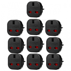 10Pcs/Set EU to UK AC Power Travel Plug Adapter Socket Converters - Black