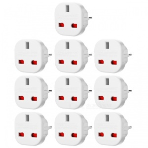 10Pcs/Set EU to UK AC Power Travel Adapter Plug Converter with Safety Shutter- White