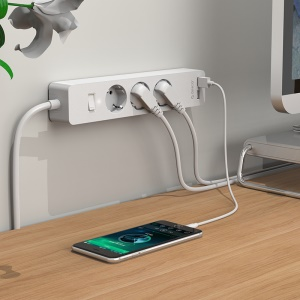 ORICO GPC-3A2U-EU 3 AC Outlet Power Strip with 2 USB Charging Port and Adhesive Board - White