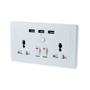 UK Plug to 3 USB Ports & 2 AC Outlet Charger Socket Station with Switch