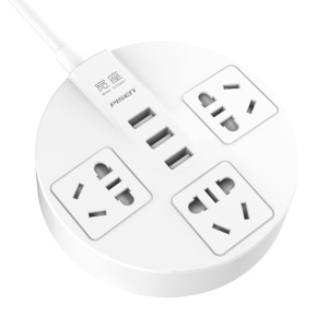 PISEN KY-33 Smart Power Charger Station (3 x Five-Hole Chinese Standard Sockets + 3 USB Ports) - 1.8M Cable / CN Plug