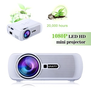 UHAPPY U80 Mini Projector 1080P HD Home Theater with HDMI USB SD VGA AV - White