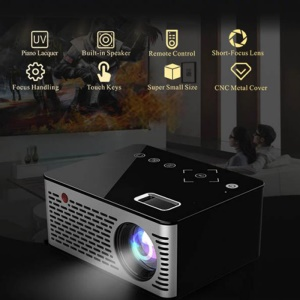 T200 Pocket LED Mini Projector Touch Keys HDMI USB AV Video Game Projector Beamer - UK Plug