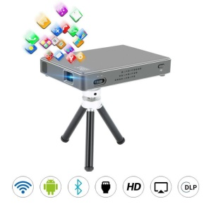 A1 Mini Portable Multimedia DLP Projector Dual Band WiFi 1GB+8GB - EU Plug