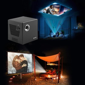 C80 DLP Projector Android 7.1.2OS WiFi Bluetooth 4K Home Cinema Film Mini Projector (1+16) - EU Plug