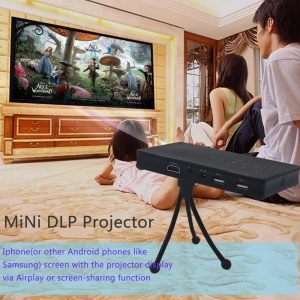 Mini DLP 1080P Projector Android 4.4 2.4G/5G Dual Band WiFi Support AirPlay Miracast - Black