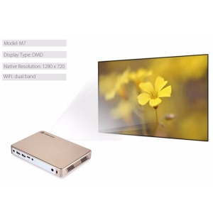 MAGIC-IMAGE M7 4K Mini DLP Projector Android 4.4 WiFi Bluetooth AirPlay Miracast - Gold / US Plug