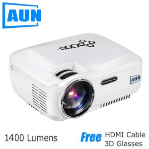 AUN Mini Projector 1400 Lumens LED Multimedia Mini Video Projector Set in Android 4.4 WiFi Bluetooth - White / EU Plug