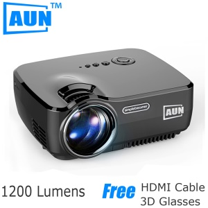 AUN Mini Projector Portable 1200 Lumens LED Projector for Home Cinema Analog TV Support 1920x1080P - Black / EU Plug
